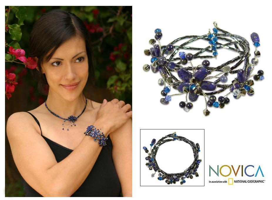 Handmade Stainless Steel 'Garland' Lapis Lazuli Wrap Bracelet (Thailand)