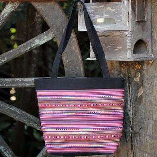 Handmade Cotton 'Rainbow Parallels' Medium Handbag (Thailand)
