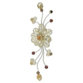 Handmade Stainless Steel 'Yellow Bouquet' Citrine Garnet Brooch (Thailand)