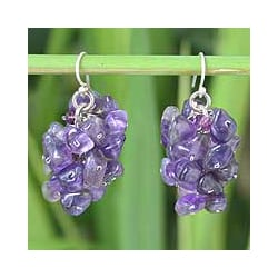 Handmade Sterling Silver 'Lilac' Amethyst Cluster Earrings (Thailand)