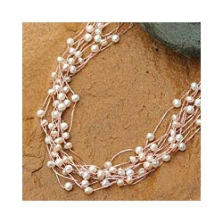 'Web of Beauty' Pink White Freshwater Pearl Choker (4 mm) (Thailand)
