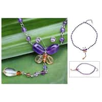 Handmade Stainless Steel 'Butterfly' Amethyst Citrine Necklace (Thailand)