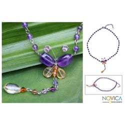 Stainless Steel 'Butterfly' Amethyst Citrine Necklace (Thailand)