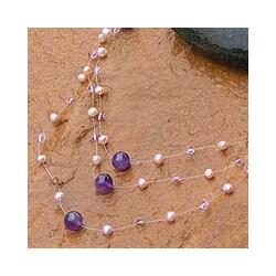 Handmade 'Gossamer Violet' Freshwater Pearl Amethyst Necklace (5 mm) (Thailand)