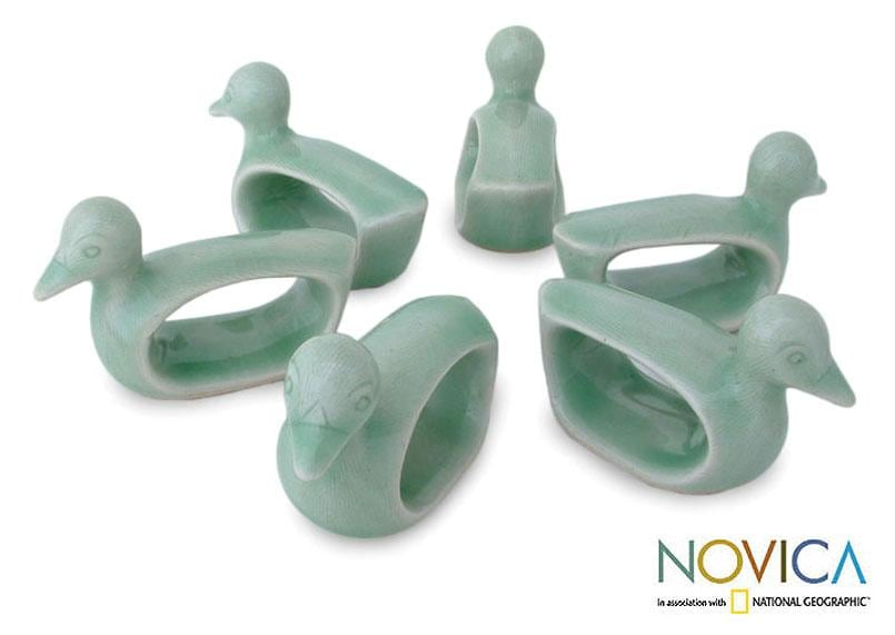 Set of 6 Celadon Ceramic 'Green Ducks' Napkin Rings (Thailand)