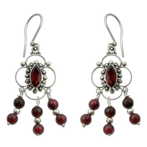 Handmade Sterling Silver 'Love Blossoms' Garnet Chandelier Earrings (Indonesia)