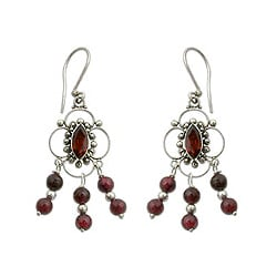 Handmade Sterling Silver 'Love Blossoms' Garnet Chandelier Earrings (Indonesia)