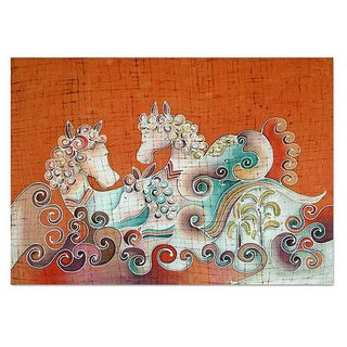 Handmade Cotton 'Joyous Animals' Batik Wall Hanging (Thailand)