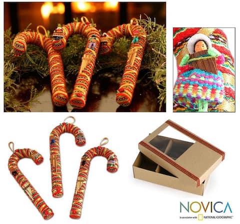 Handmade Candy Cane Cotton Ornaments, Set of 3 (Peru)