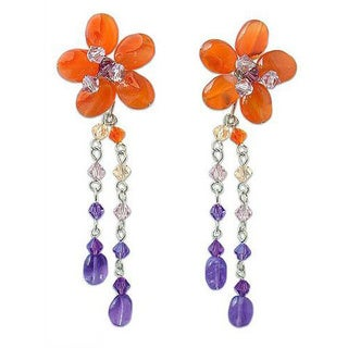 Handmade Stainless Steel 'Sweet Eternal' Carnelian Amethyst Floral Earrings (Thailand)
