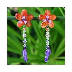 Stainless Steel 'Sweet Eternal' Carnelian Amethyst Floral Earrings (Thailand)
