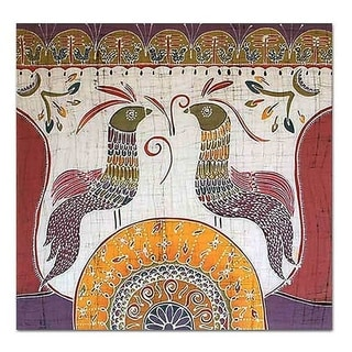 Song for the New Day Pink Orange Blue Multicolor Bird Themed Artisan Decorator Wall Art Batik Hanging (Thailand)