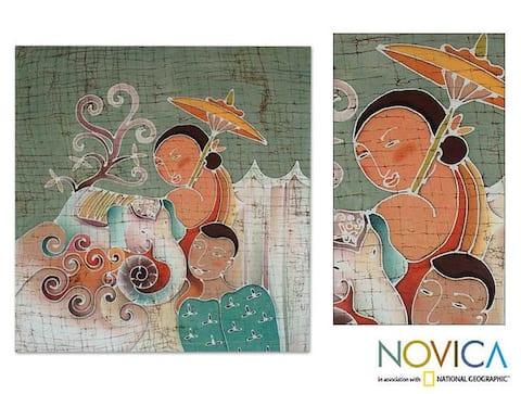 Handmade Northern Life Cotton Batik Wall Hanging (Thailand)