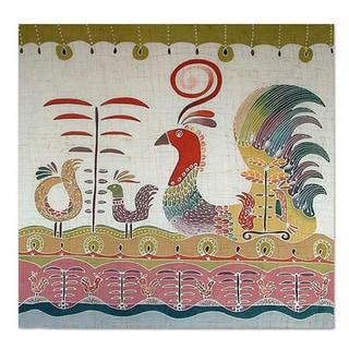 Cotton 'Bird Fancy' Batik Wall Hanging