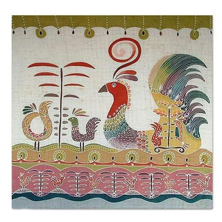 Handmade Cotton 'Bird Fancy' Batik Wall Hanging (Thailand)