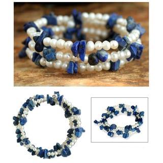 Handmade 'Blue Solstice' Freshwater Pearl Lapis Bracelet (4 mm) (Thailand)
