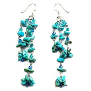 Handmade Sterling Silver 'Quiet Rain' Turquoise Waterfall Earrings (Thailand)