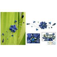 Handmade Stainless Steel 'Blue Bouquet' Lapis Lazuli Brooch (Thailand)