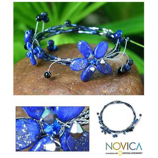 Handmade Stainless Steel 'Butterfly Bloom' Lapis Lazuli Wrap Bracelet (Thailand)