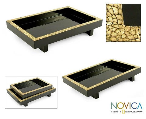 Handmade Set of 2 Wood 'Lacquer Ponds' Eggshell Mosaic Trays (Thailand)