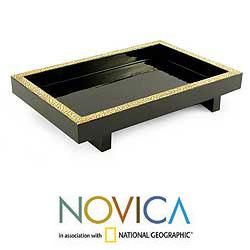 Set of 2 Wood 'Lacquer Ponds' Eggshell Mosaic Trays (Thailand)