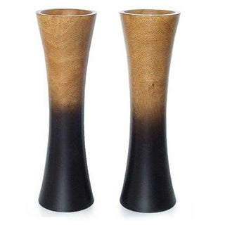 Set of 2 Mango Wood 'Volcanoes' Vases