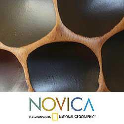Handmade Mango Wood 'Polka Dot Black' Vase (Thailand) - Thumbnail 2