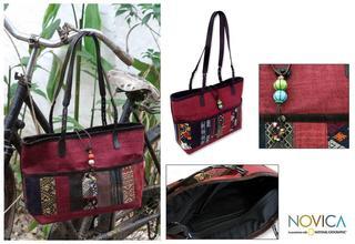 Handmade Cotton 'Hill Tribe Chic In Burgundy' Medium Shoulder Bag (Thailand)