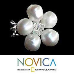 Handmade Sterling Silver 'White Blossom' Cultured Pearl Ring (8 mm) (Thailand) - Thumbnail 2
