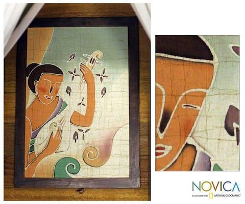 Handmade Alaya Cholprasertsuk 'Lanna Melodies' Framed Batik Art (Thailand) - Green/Brown/Multi-color