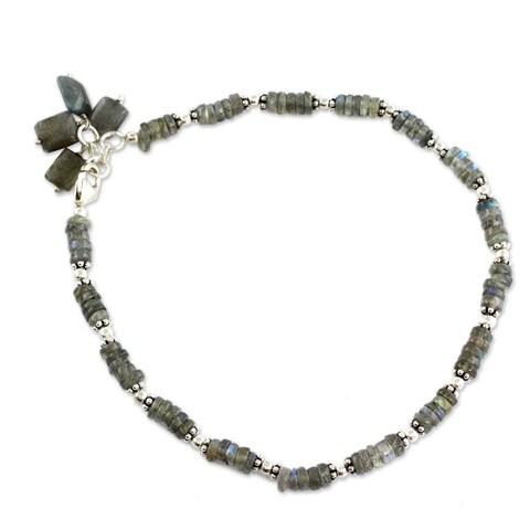 Handmade Mystical Inspiration Fluid Rondelle Labradorite 925 Sterling Silver with Dangle Charm Bohemian Anklet Bracelet (India)