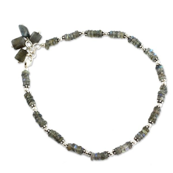 Handmade Mystical Inspiration Fluid Rondelle Labradorite 925 Sterling Silver with Dangle Charm Bohemian Anklet Bracelet (India)