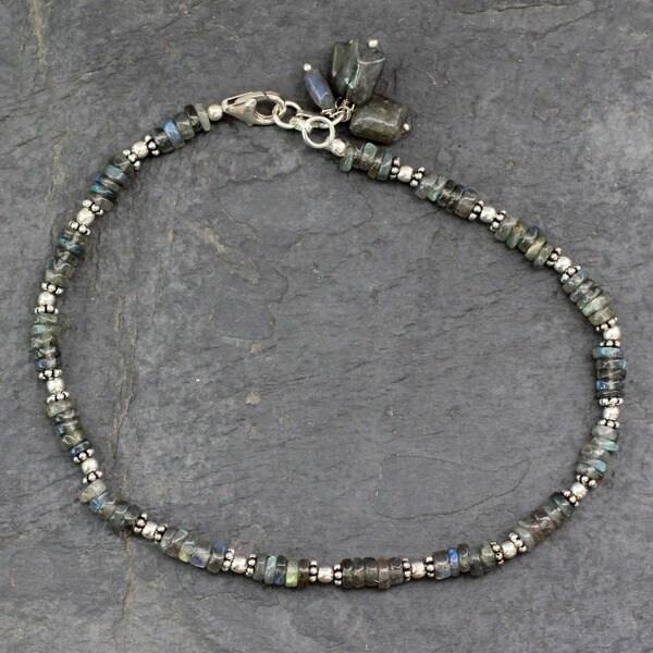 Mystical Inspiration Fluid Rondelle Labradorite 925 Sterling Silver with Dangle Charm Bohemian Womens Anklet Bracelet (India)