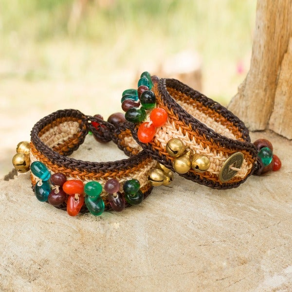 Bold Brown Fortune Multicolor Beads Brass Bells and Good Luck Coins on Pair of Womens Crocheted Wristband Bracelets (Thailand)