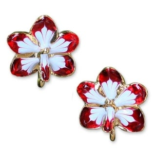 Handmade Gold Plated Natural Orchid 'Timeless Dancer' Earrings (Thailand)