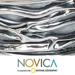 Handmade Sterling Silver River Oxidized Finish Cuff Bracelet (Thailand)