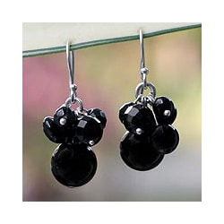 Sterling Silver 'Midnight Friends' Onyx Earrings (Thailand)