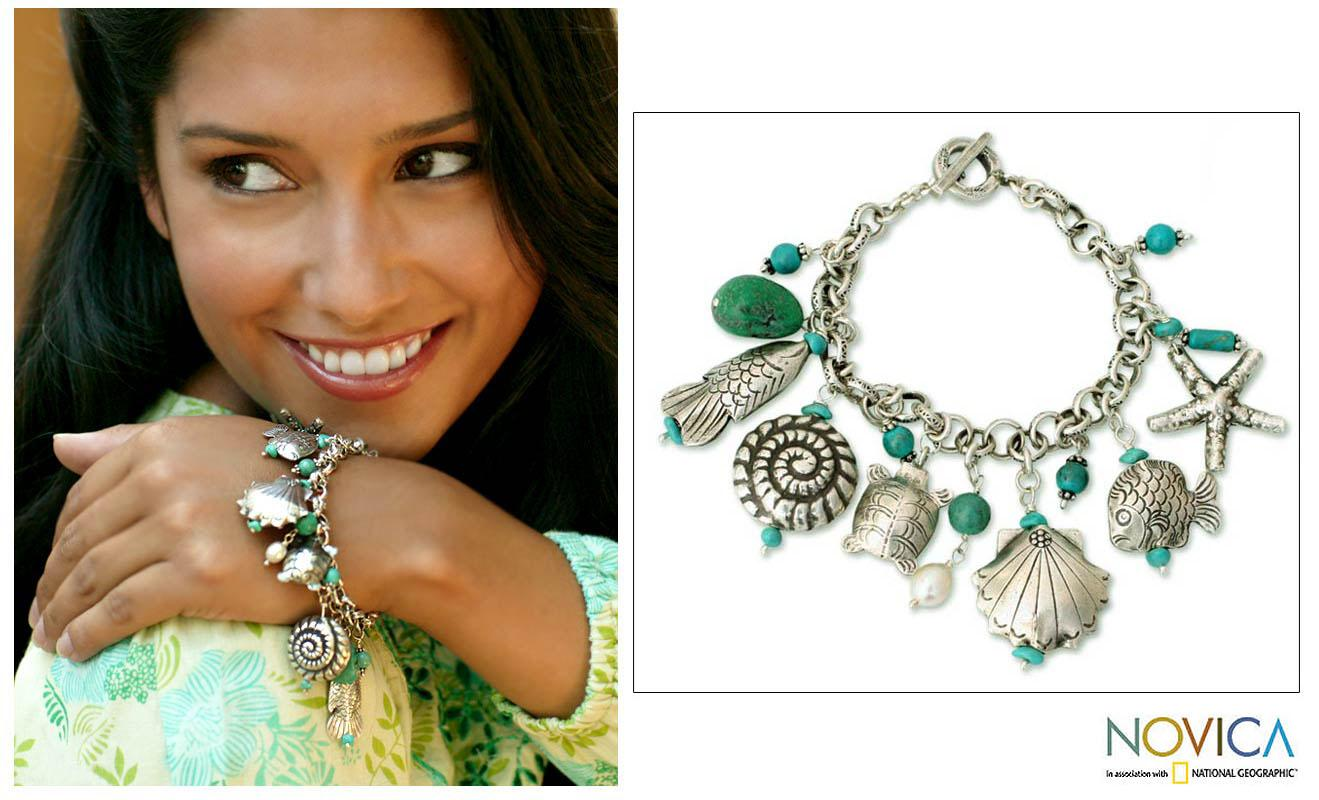 Handmade Sterling Silver Open Sea Freshwater Pearl Turquoise Charm Bracelet (6 mm) (Thailand)