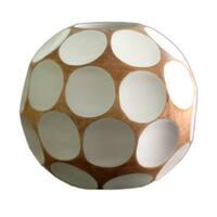 Handmade Mango Wood 'White Soccer Ball' Vase (Thailand)