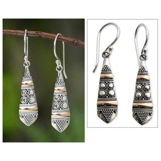 Handmade Sterling Silver Gold Accent 'Fireflies' Dangle Earrings (Indonesia)