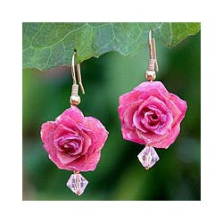 Handmade Gold Overlay 'Timeless Pink' Natural Rose Earrings (Thailand)