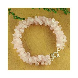 'Aura' Rose Quartz Beaded Bracelet (India)