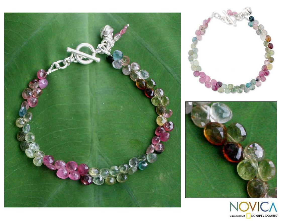 Sterling Silver 'Romantic Rain' Tourmaline Beaded Bracelet (Thailand)