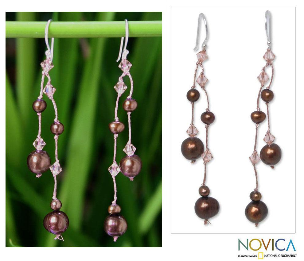 Handmade Sterling Silver 'Brown Iridescence' Freshwater Pearl Earrings (4-8 mm) (Thailand)