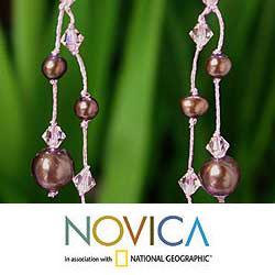 Handmade Sterling Silver 'Brown Iridescence' Freshwater Pearl Earrings (4-8 mm) (Thailand) - Thumbnail 2