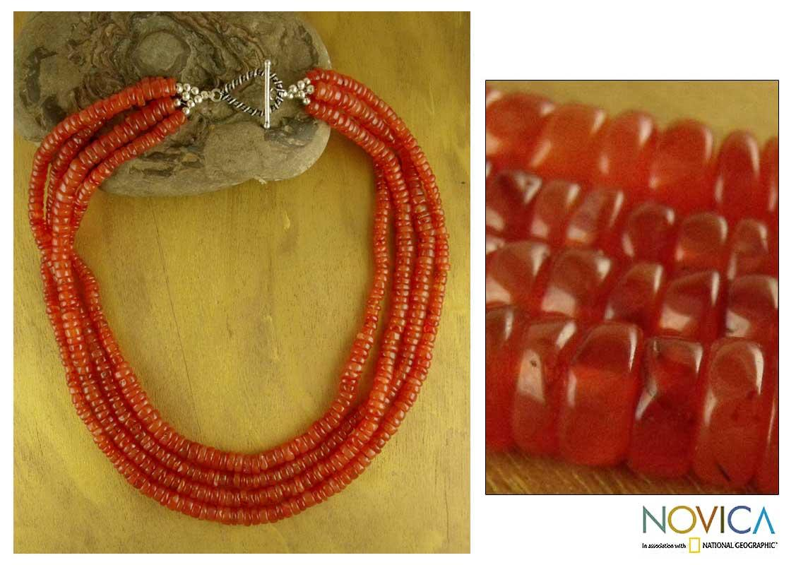 Love's Fire Red Orange Polished Carnelian Gemstones 925 Sterling Silver Toggle Catch Womens Strand Collar Necklace (India)