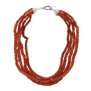 Love S Fire Red Orange Polished Carnelian Gemstones 925 Sterling Silver Toggle Catch Womens Strand Collar Necklace India