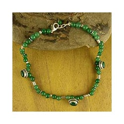 Handmade Sterling Silver 'Love Song' Agate Beaded Anklet (India)