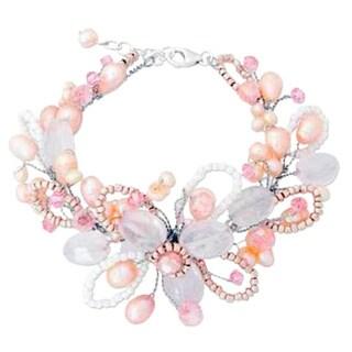 Handmade 'Honey Peach' Freshwater Pearl Bracelet (4-6 mm) (Thailand)