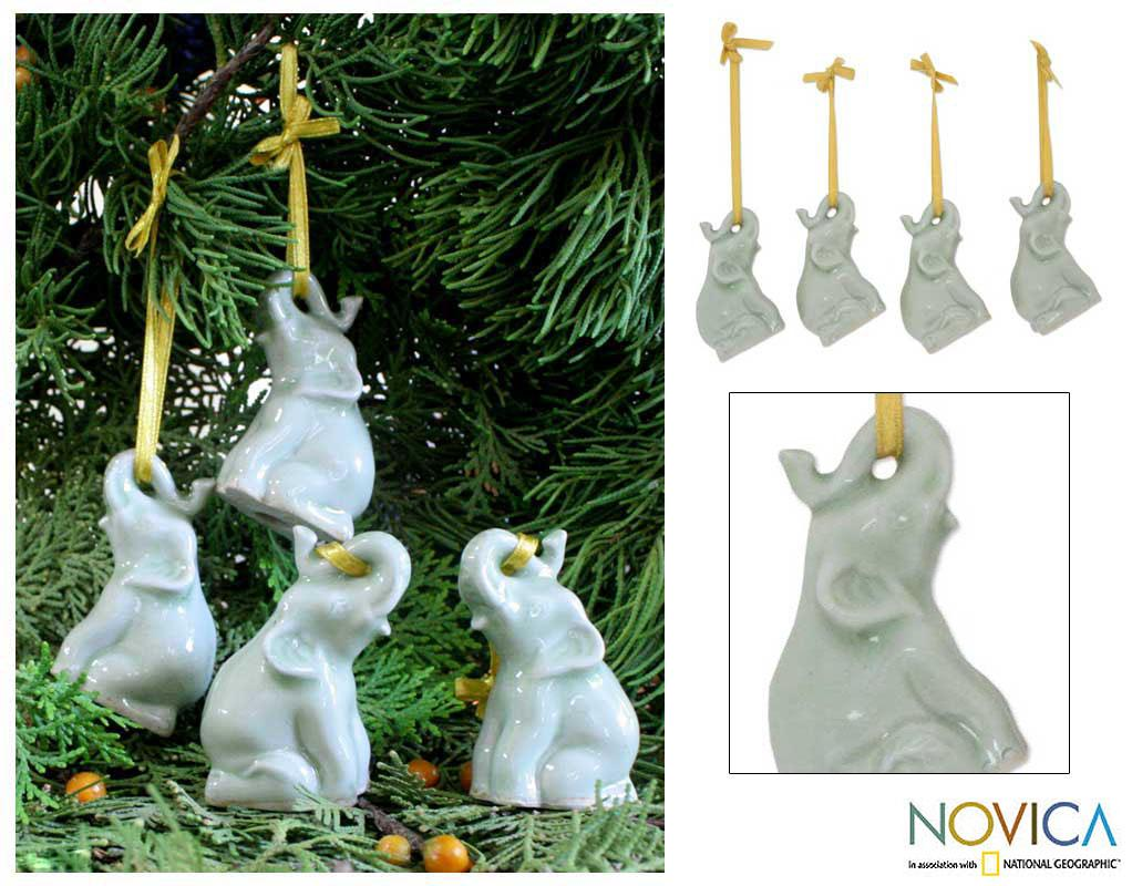 Handmade Set Of 4 Ceramic 'Green Elephant Heralds' Celadon Ornaments (Thailand)